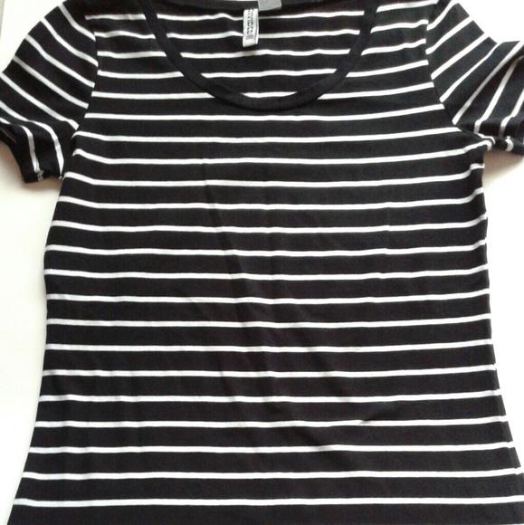 88c97bfa43 H&M Tops | Nwot Black White Striped Shirt | Poshmark